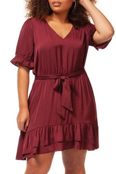 Dex Maroon Ruffle Dress - Product List Image