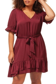 Dex Maroon Ruffle Dress - Product Mini Image