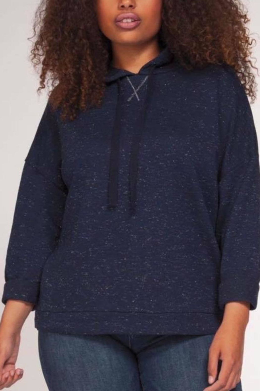 Dex Navy Sparkle Hoodie - Front Cropped Image