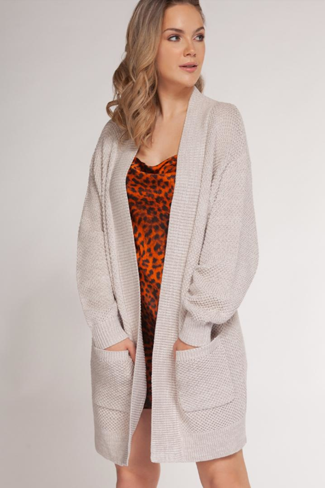 Dex Oatmeal-Waffled Two-Tone Cardigan - Front Cropped Image