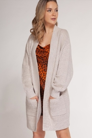 Dex Oatmeal-Waffled Two-Tone Cardigan - Front cropped