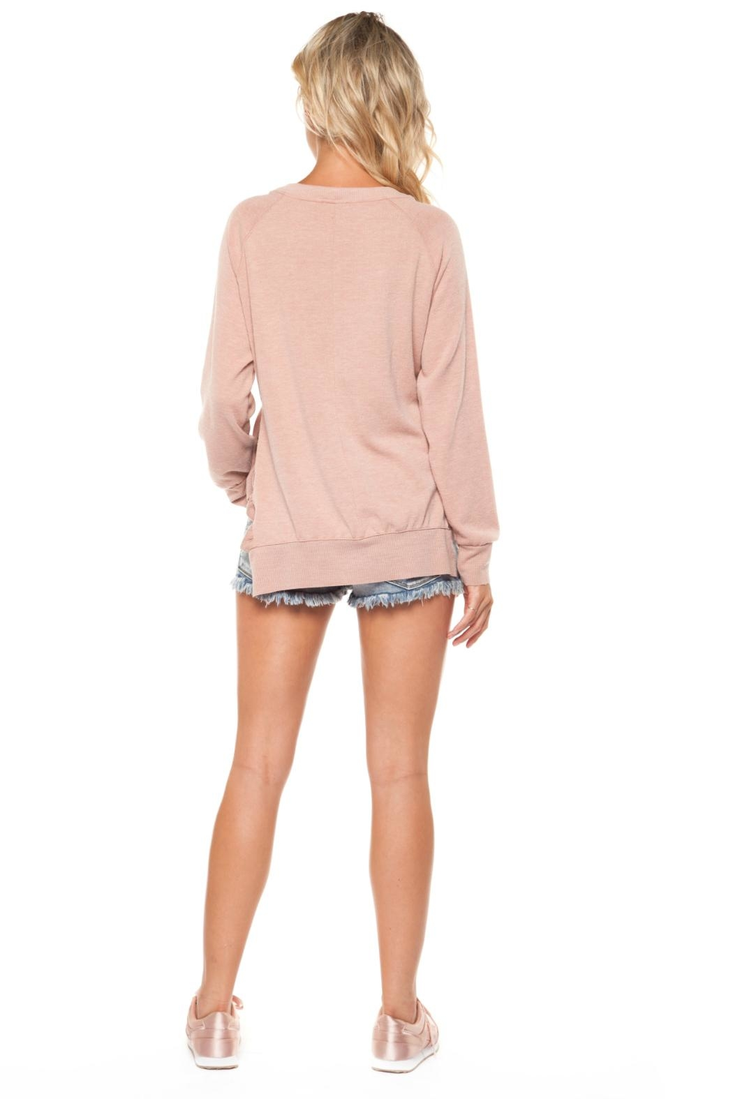 Dex Pink Ruffle Sweater - Side Cropped Image