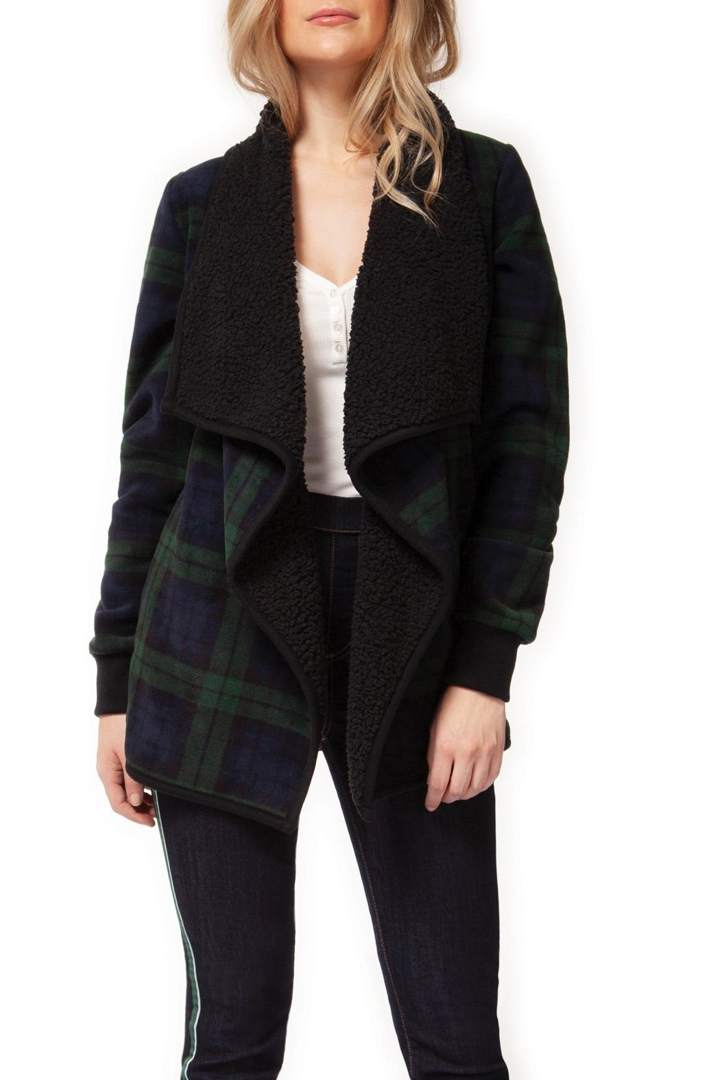 Dex Plaid Sherpa Cardigan-Coat - Front Cropped Image