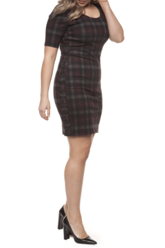 Shoptiques Product: Plaid Side Lace-Up Dress