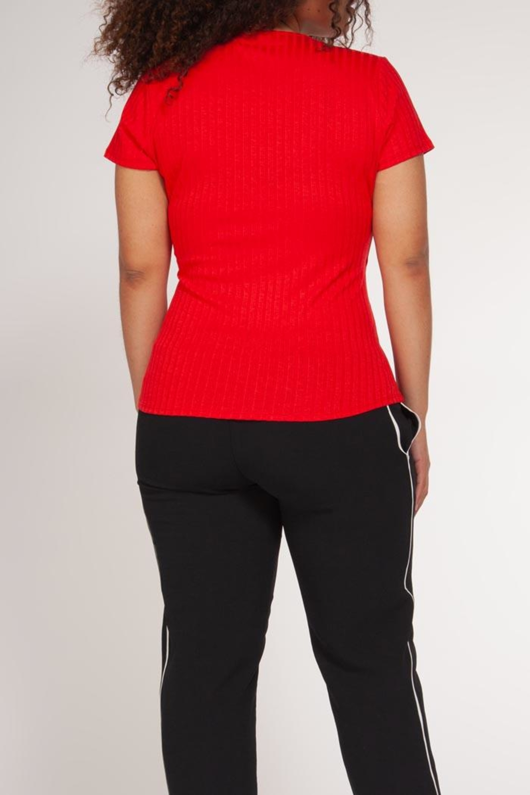 Dex Ribbed Wrap Top - Front Full Image