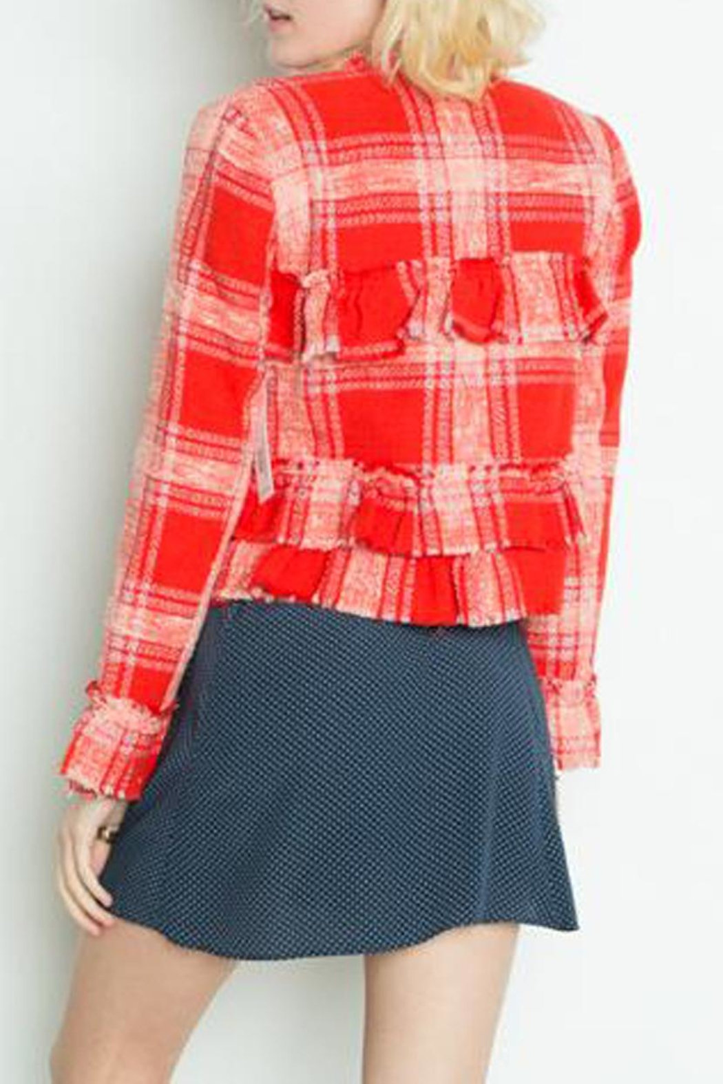 Dex Ruffle Tweed Jacket - Side Cropped Image