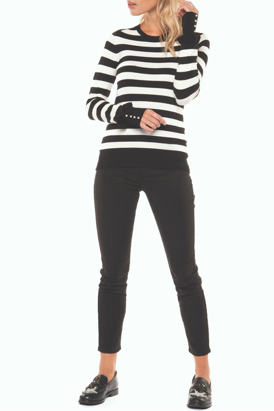 Dex Striped Button-Cuff Sweater - Front Cropped Image