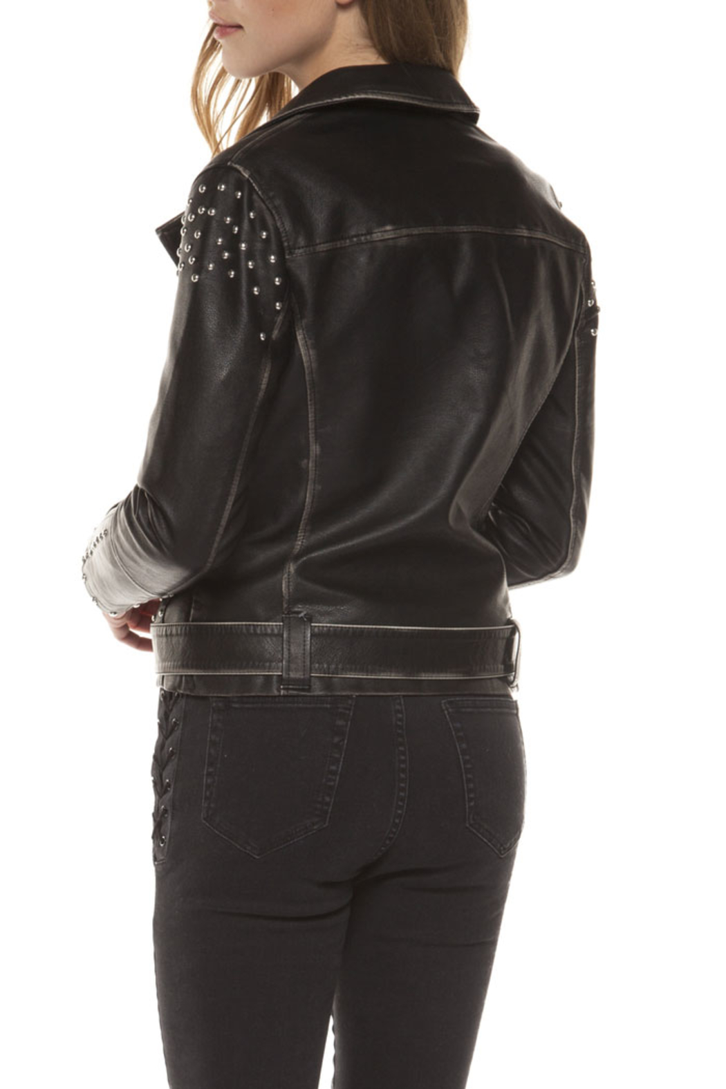 Dex Studded Moto Jacket - Back Cropped Image
