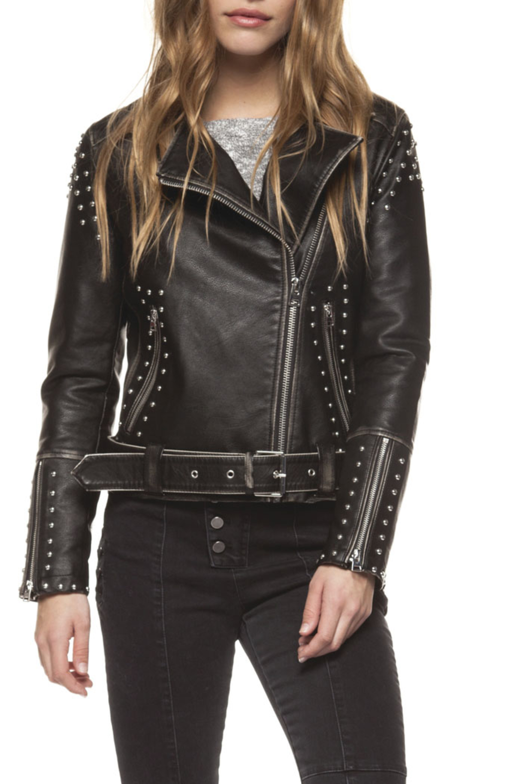 Dex Studded Moto Jacket - Front Full Image