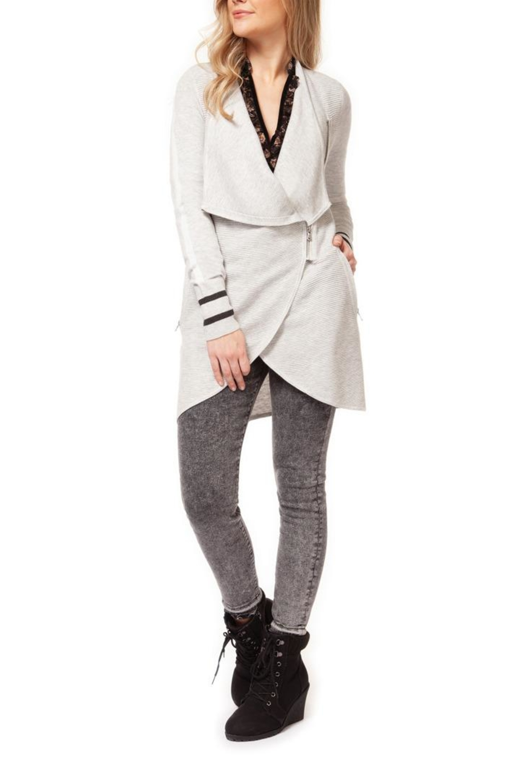 Dex Varsity Zipper Cardigan - Front Cropped Image