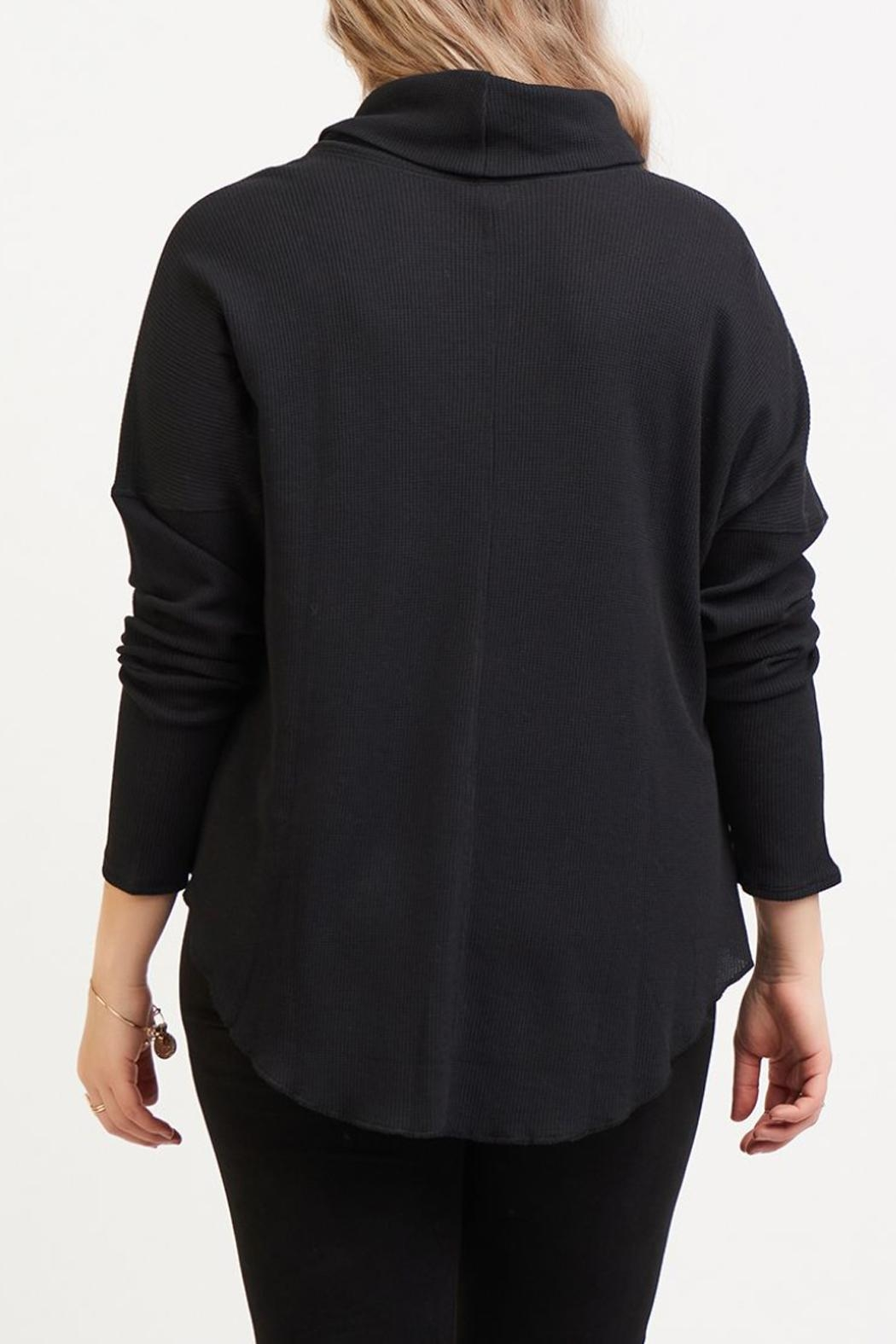 Dex Waffle Cowl Neck Top - Side Cropped Image