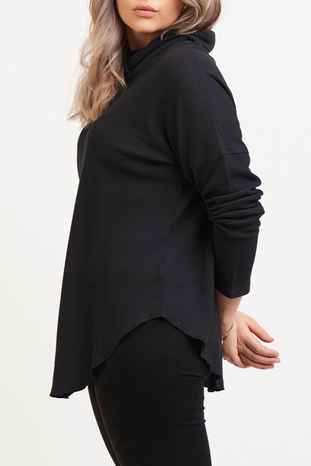Dex Waffle Cowl Neck Top - Front Full Image