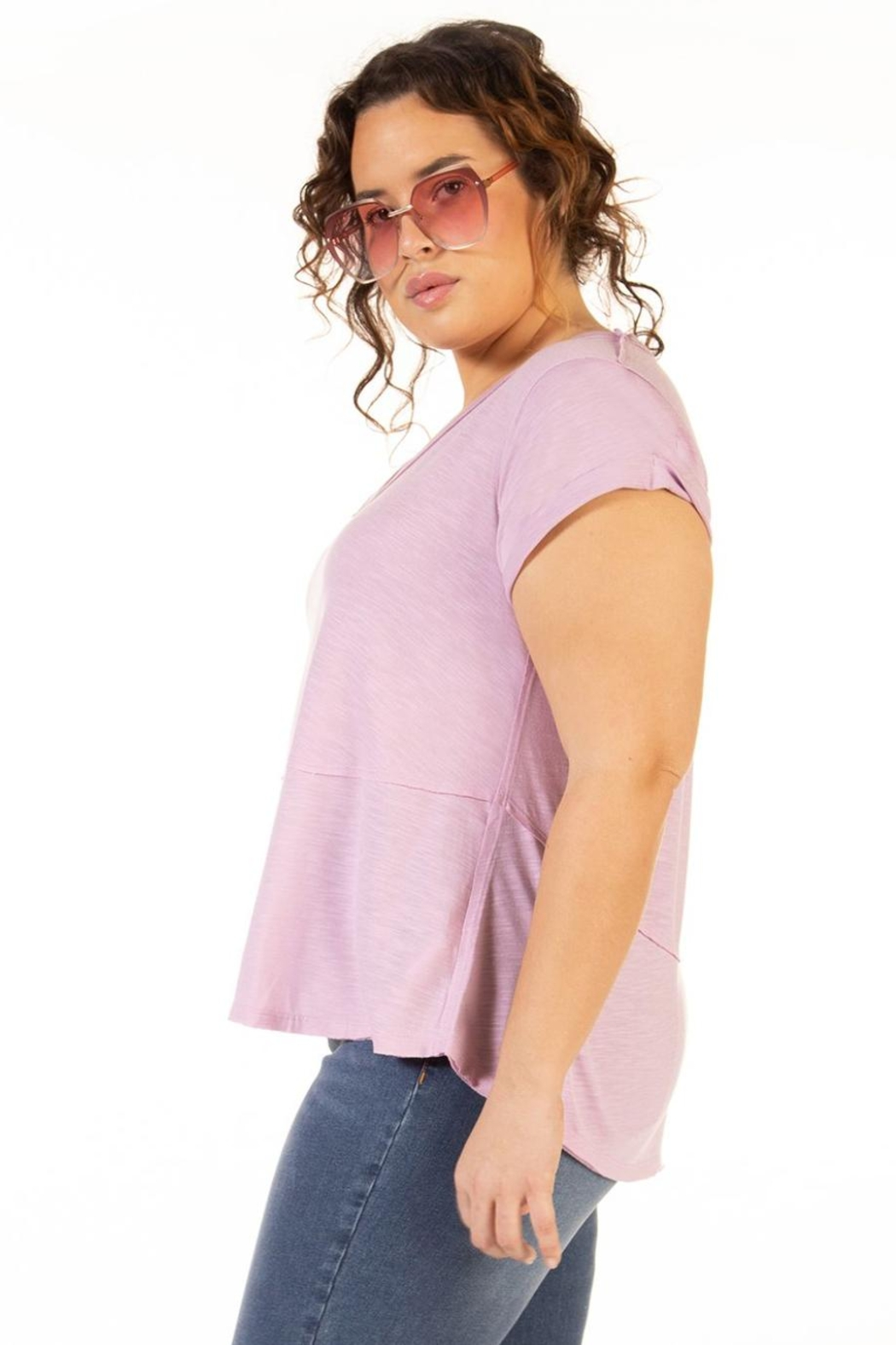 Dex Clothing Short Sleeve Slouchy Tee - Front Full Image