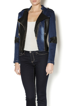 Shoptiques Product: Faux Leather Denim Jacket