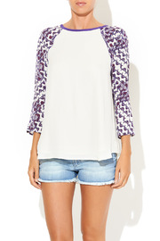 Shoptiques Product: Print Sleeve Baseball Blouse - Front cropped