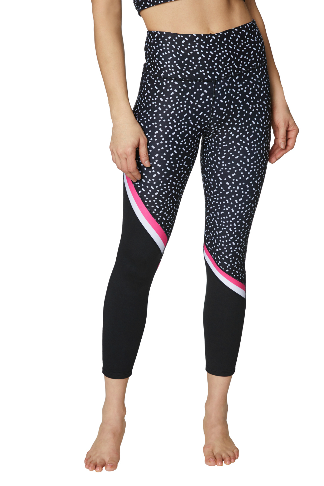 Betsey Johnson Diagonal Colorblock Printed 7/8 Legging - Front Cropped Image