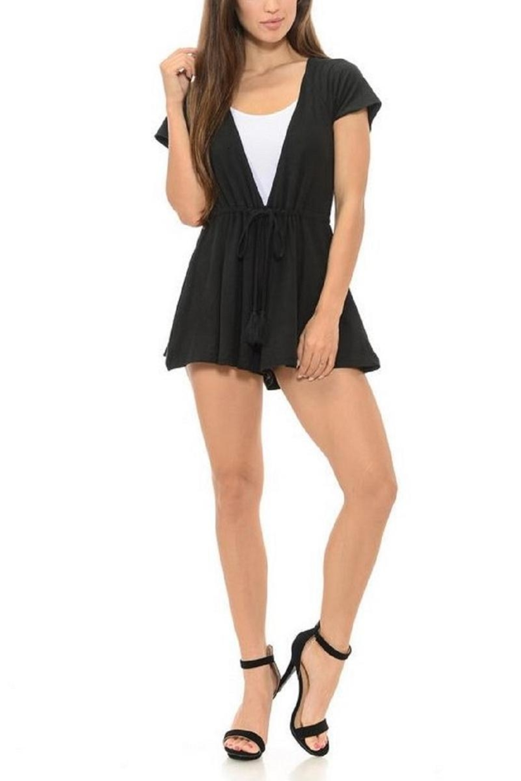 Diamante Black Romper - Front Cropped Image