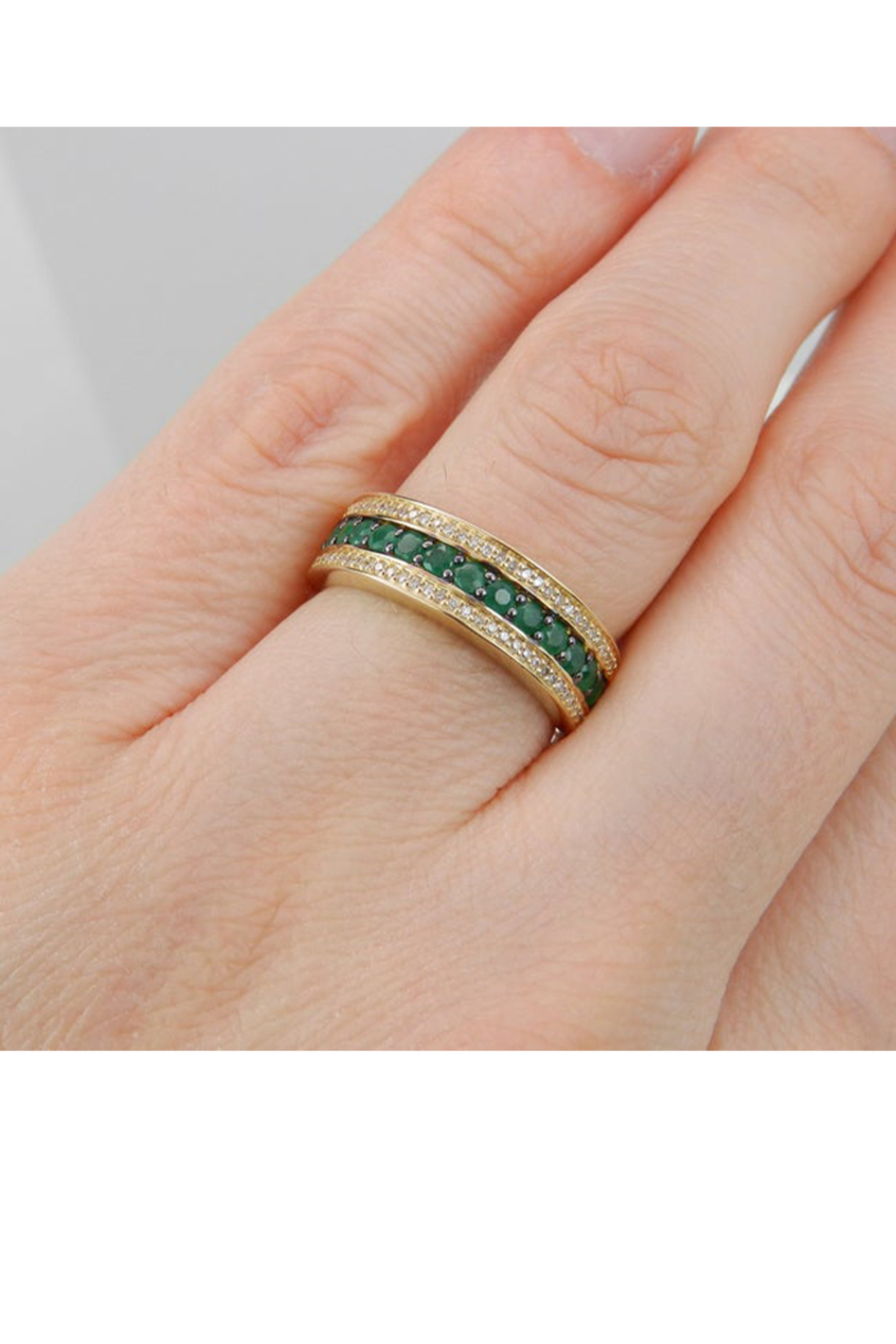 Margolin & Co Diamond and Emerald Ring, Emerald Anniversary Band, Emerald Wedding Ring, 14K Yellow Gold Stackable Ring, Size 6, May Birthstone FREE Sizing - Back Cropped Image
