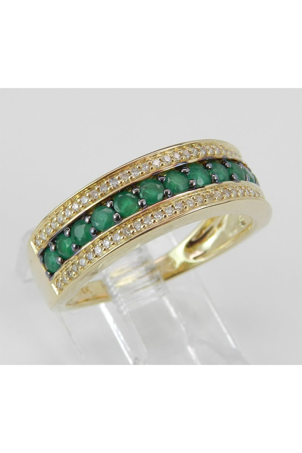 Margolin & Co Diamond and Emerald Ring, Emerald Anniversary Band, Emerald Wedding Ring, 14K Yellow Gold Stackable Ring, Size 6, May Birthstone FREE Sizing - Front Full Image