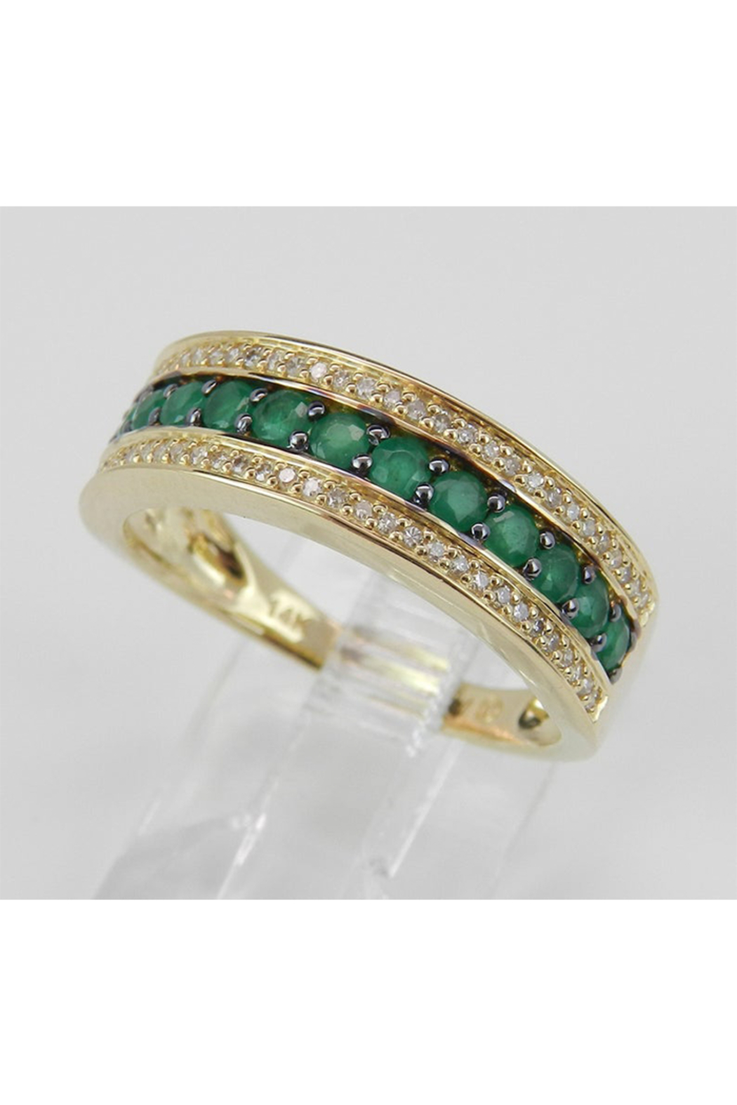 Margolin & Co Diamond and Emerald Ring, Emerald Anniversary Band, Emerald Wedding Ring, 14K Yellow Gold Stackable Ring, Size 6, May Birthstone FREE Sizing - Side Cropped Image