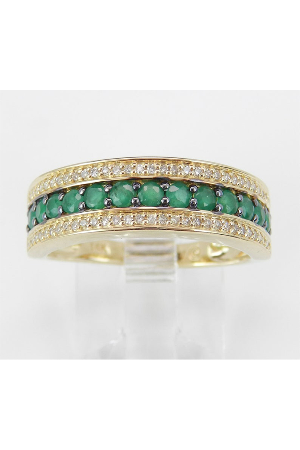 Margolin & Co Diamond and Emerald Ring, Emerald Anniversary Band, Emerald Wedding Ring, 14K Yellow Gold Stackable Ring, Size 6, May Birthstone FREE Sizing - Main Image