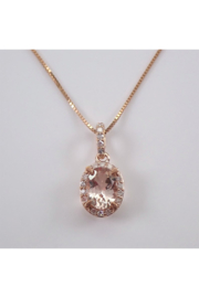 Margolin & Co Diamond and Morganite Halo Drop Pendant Necklace 18