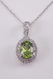 Margolin & Co Diamond and Peridot Halo Pendant 14K White Gold Necklace 18