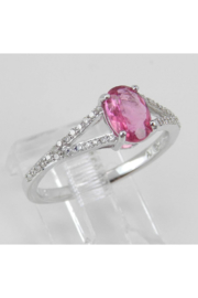 Margolin & Co Diamond and Pink Sapphire Ring, Pink Sapphire Engagement Ring, White Gold Promise Ring, Split Shank Engagement Ring, Size 7 FREE Sizing - Front full body