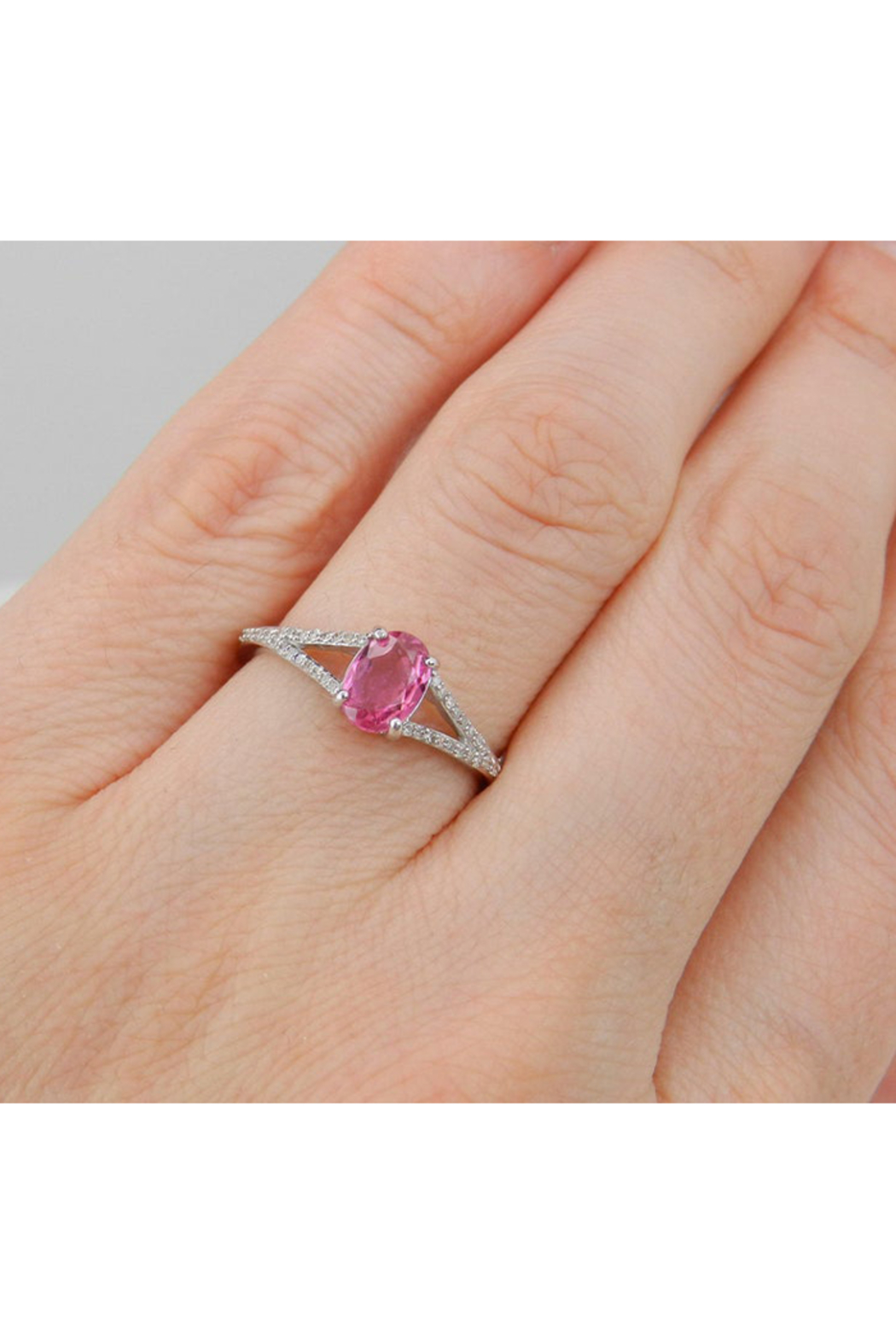 Margolin & Co Diamond and Pink Sapphire Ring, Pink Sapphire Engagement Ring, White Gold Promise Ring, Split Shank Engagement Ring, Size 7 FREE Sizing - Back Cropped Image