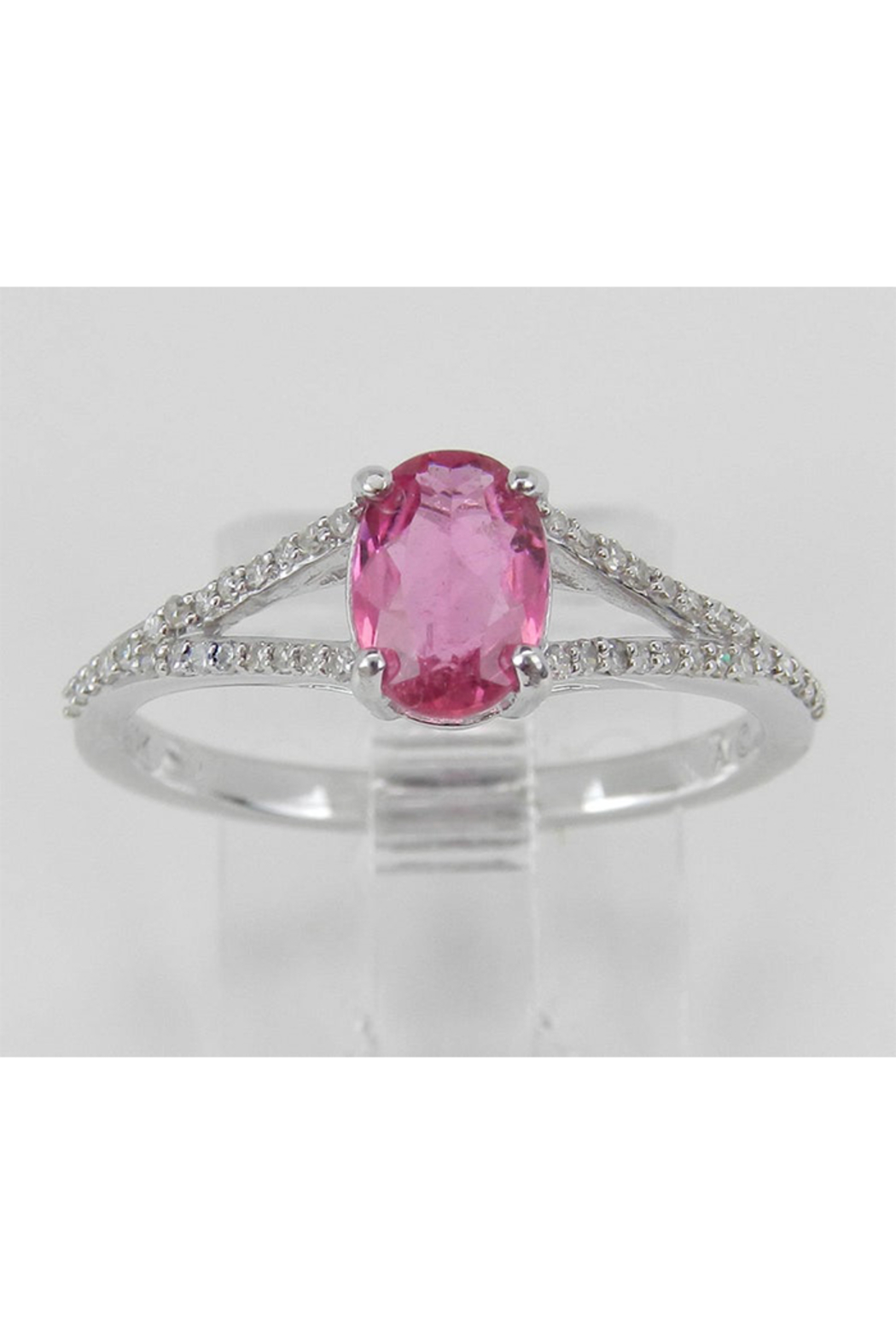 Margolin & Co Diamond and Pink Sapphire Ring, Pink Sapphire Engagement Ring, White Gold Promise Ring, Split Shank Engagement Ring, Size 7 FREE Sizing - Main Image