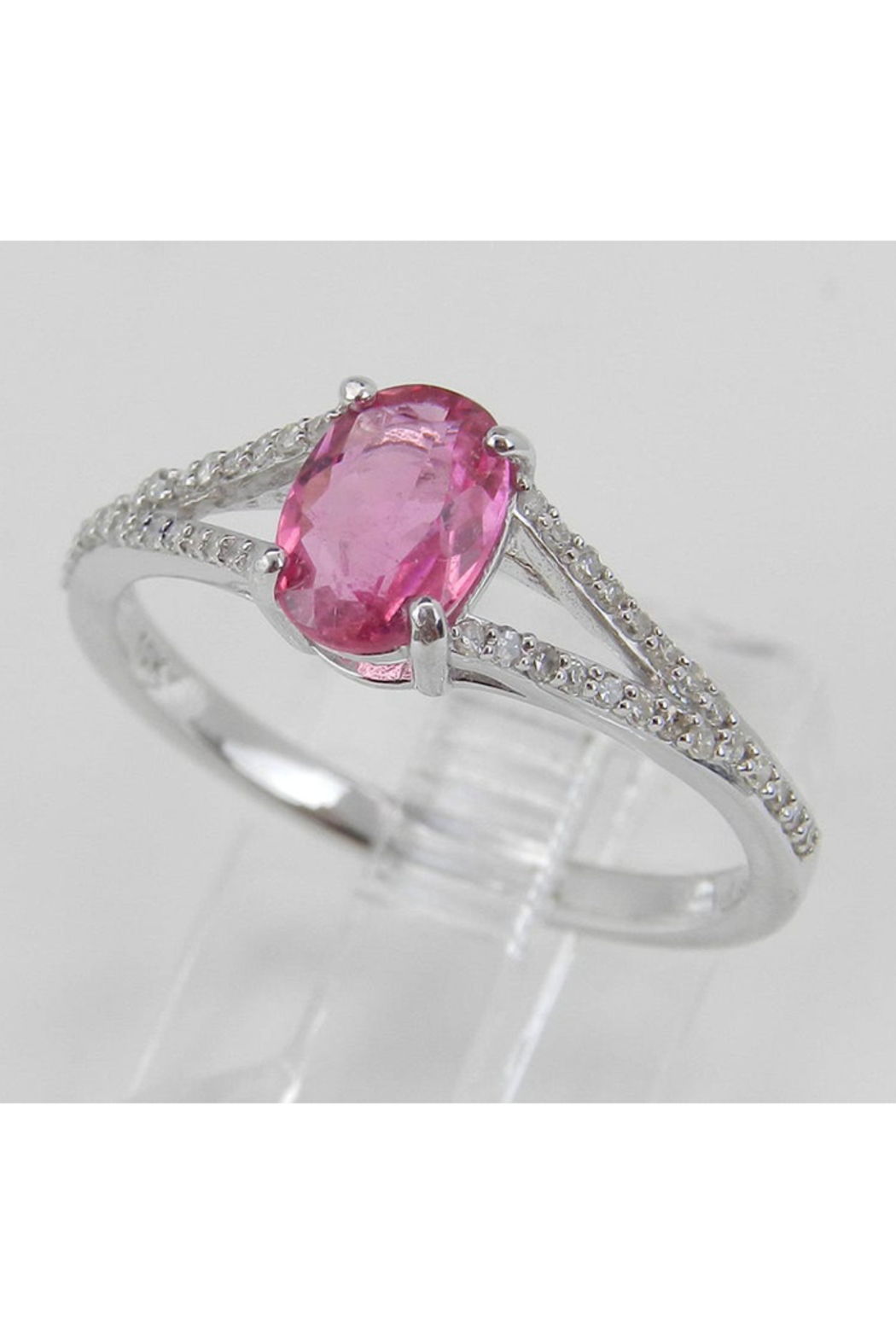 Margolin & Co Diamond and Pink Sapphire Ring, Pink Sapphire Engagement Ring, White Gold Promise Ring, Split Shank Engagement Ring, Size 7 FREE Sizing - Side Cropped Image