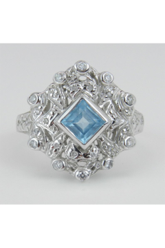 Shoptiques Product: Diamond and Princess Cut Blue Topaz Statement Ring Estate Vintage Ring 14K White Gold Size 8.5