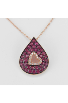 """Shoptiques Product: Diamond and Ruby Heart Necklace Cluster Pendant 14K Rose Gold 18"""" Chain July Gem"""