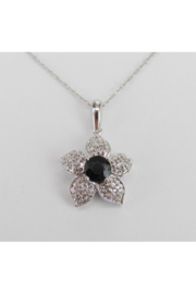Margolin & Co Diamond and Sapphire Flower Pendant Necklace 14K White Gold 18