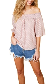 Available by Angela Fashion Diamond Burnout Detail Off Shoulder Top - Product Mini Image