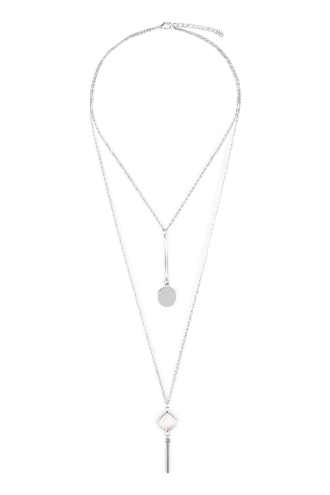 Riah Fashion Diamond Layering Necklaces - Front Cropped Image