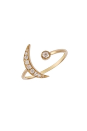 Brigitte & Stone Diamond Moon Ring - Front full body