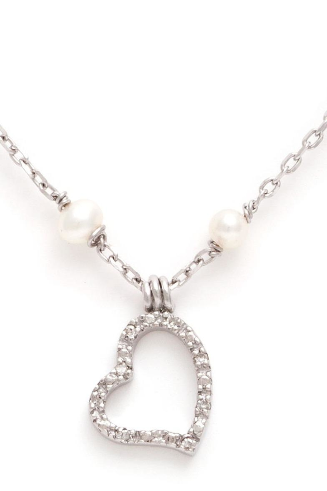 Lets Accessorize Diamond-Pearl Heart Necklace - Main Image