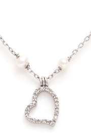 Lets Accessorize Diamond-Pearl Heart Necklace - Front cropped
