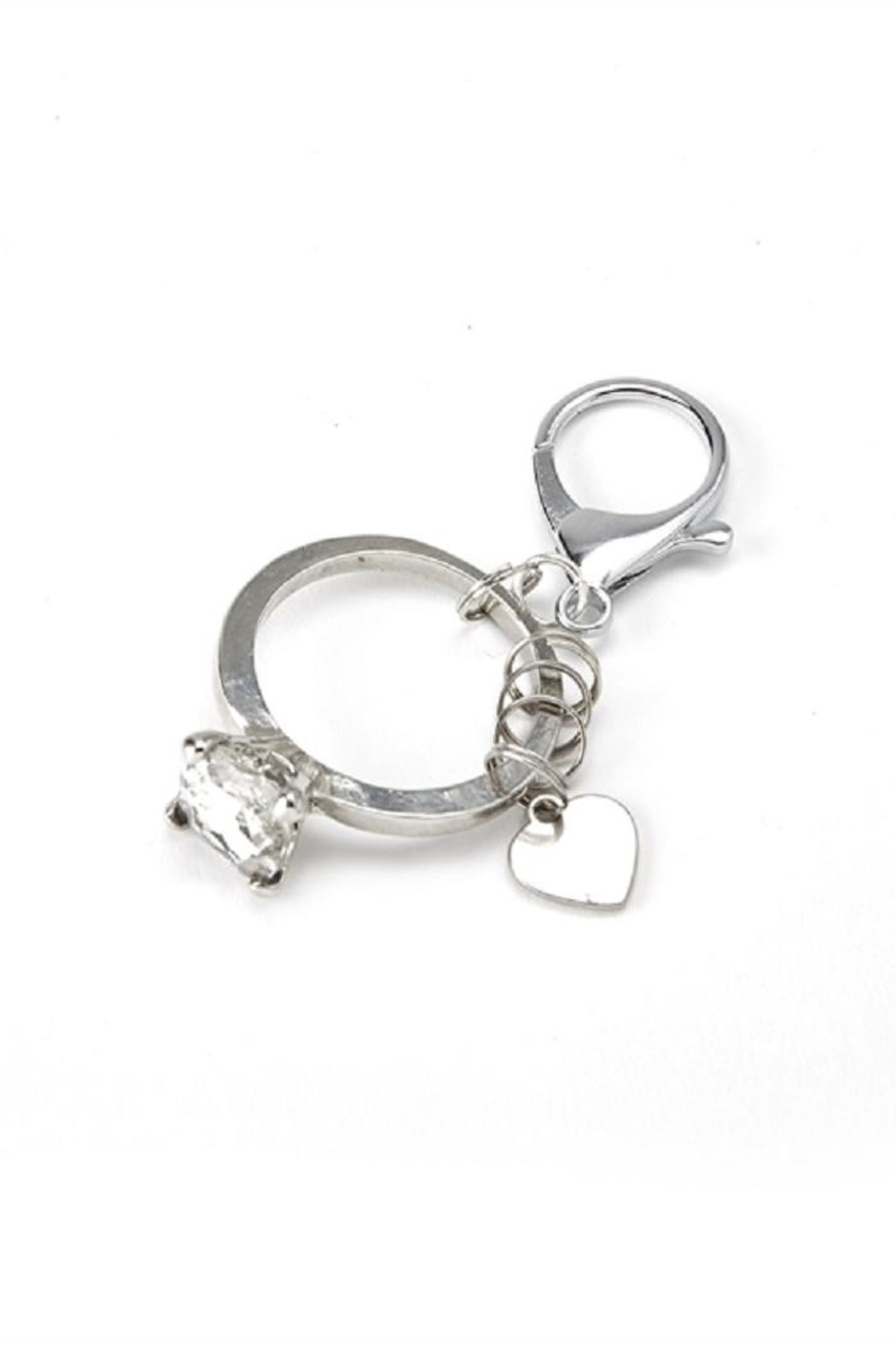Two's Company Diamond Ring Keychain - Front Cropped Image