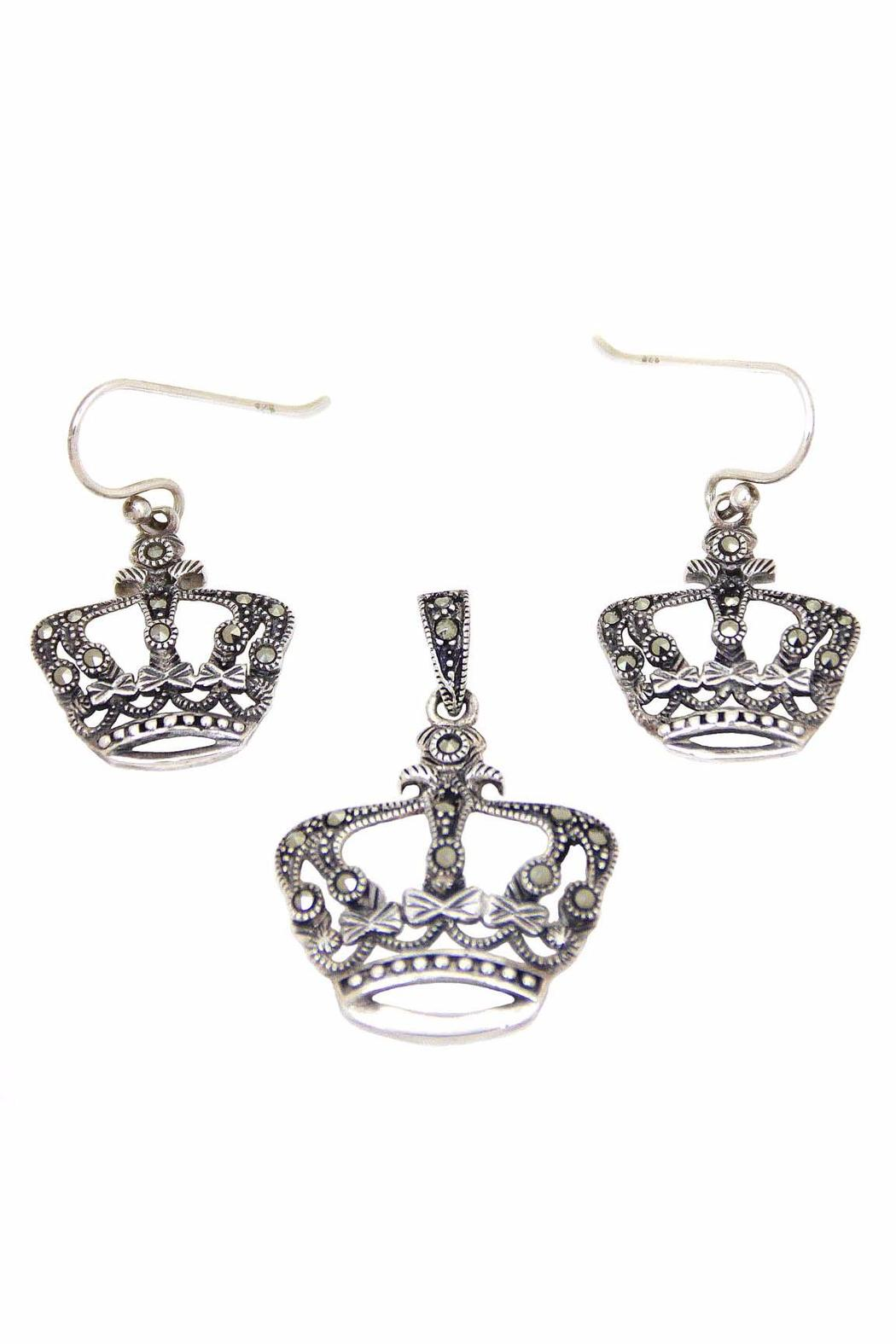 Diane's Accessories Crown-Pendant &-Earring Sterling-Silver - Main Image