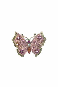 Shoptiques Product: Flower Butterfly Pin Rose