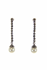 Diane's Accessories Marcasite Pearl Earrings - Front cropped