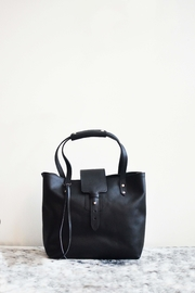 Dime & Regal Black Leather Tote-Bag - Front full body