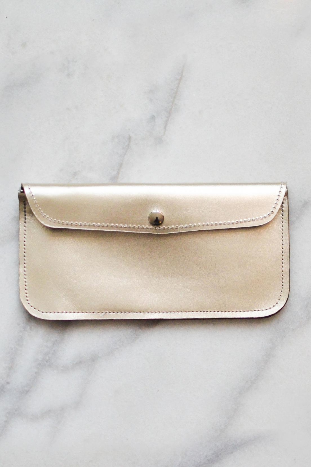 Dime & Regal Metallic Leather Clutch - Main Image