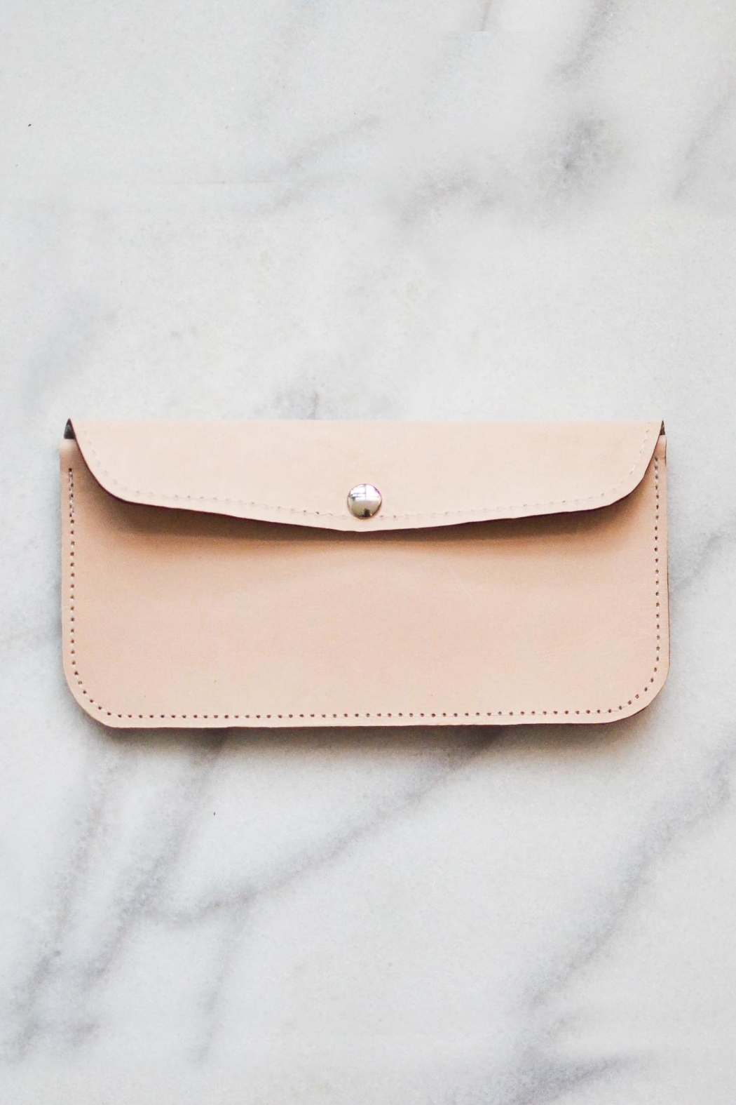 Dime & Regal Natural-Tan Leather Clutch - Front Full Image