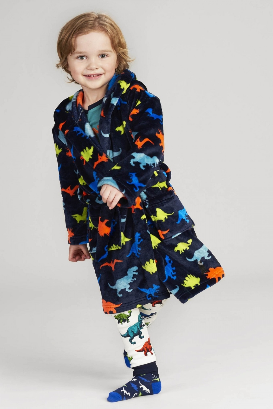Hatley Dino Herd Fleece Robe - Side Cropped Image