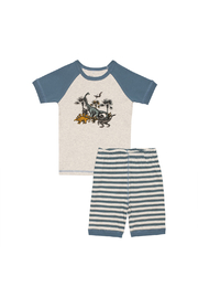 Deux Par Deux Dinosaur Stripe PJ Set - Product Mini Image