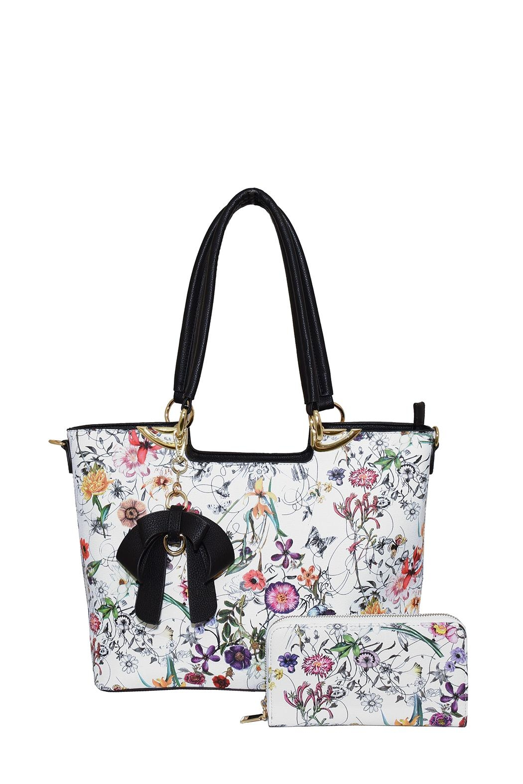 Diophy Floral Bow Tote - Front Full Image