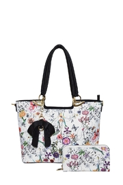 Diophy Floral Bow Tote - Front full body